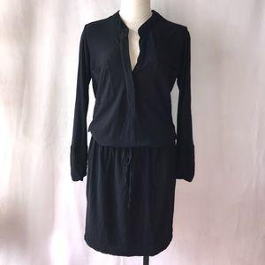James Perse Black Roll Up Long Sleeve Shirt Dress